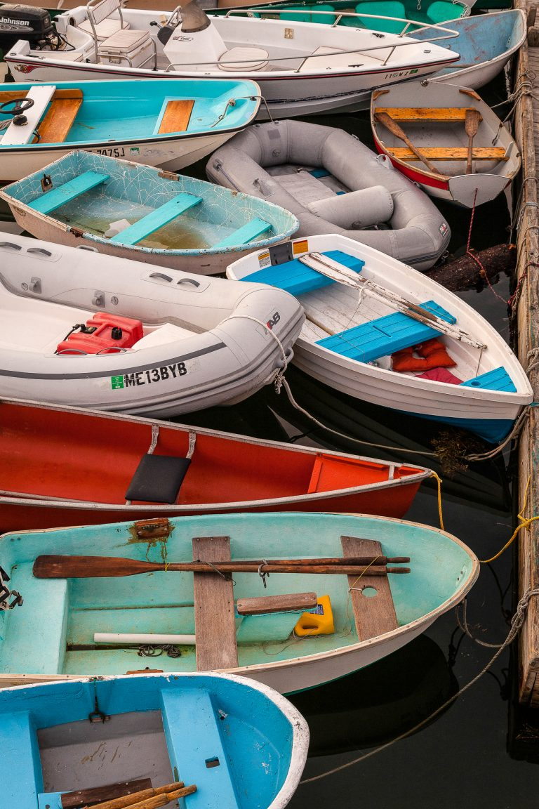 maine, boats, multicolored boats, dinghies, lories, waterman, lobsterman