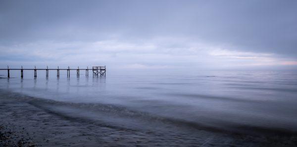 dock, ocean, sunrise, foggy morning, beach, landscape photography