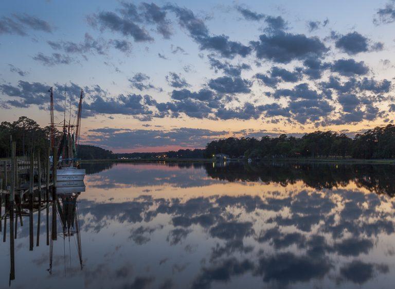 shrimp boat, lowcounttry, sunset, blue, boat, tidal creek