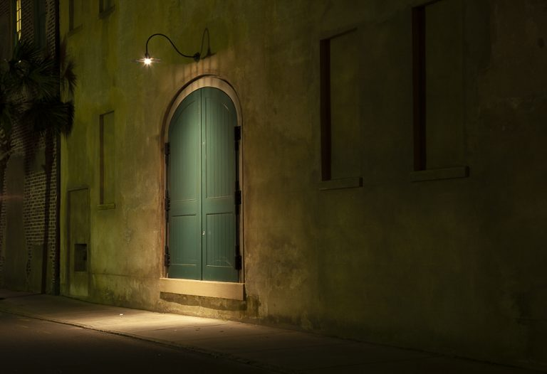 doors, charleston, night time, downtown, dock street, Queen Street. green and gold